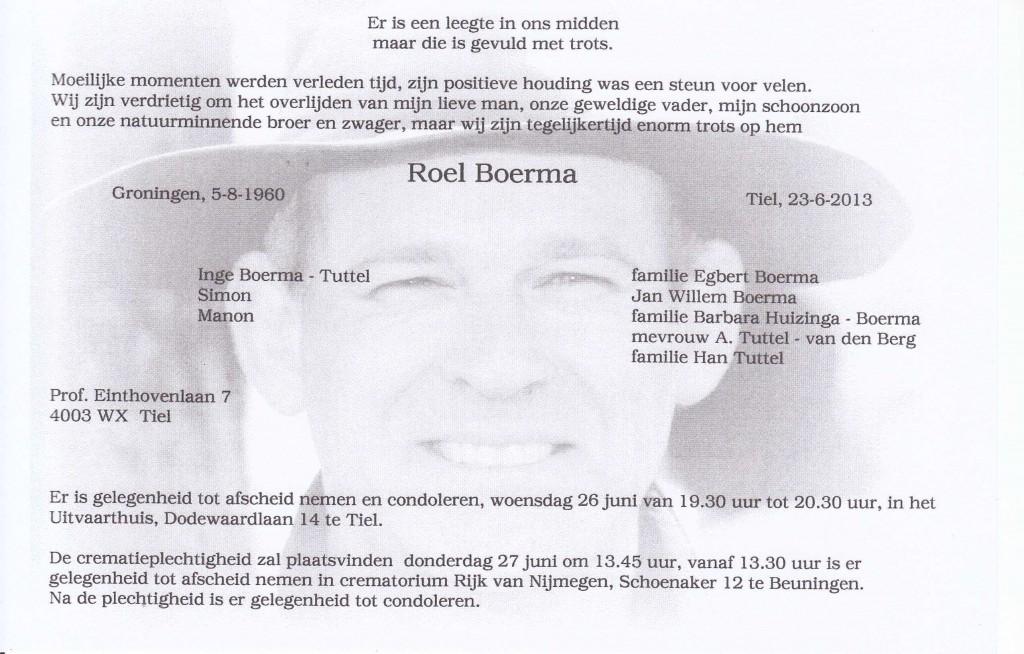 Rouwkaart Roel Boerma gesneden onder